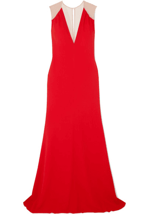 Victoria Beckham - Mesh-paneled Cady Gown - Red