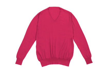 Coral Long Sleeve V-neck Cashmere Sweater