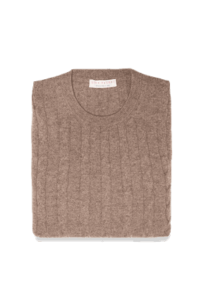 Nocciola Brown Pure Cashmere Cable Knit Sweater