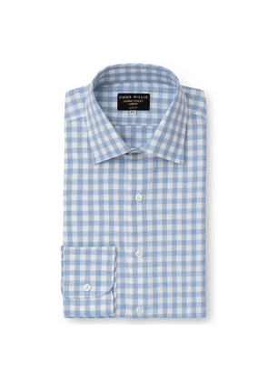 Sky Gingham Brushed Cotton Shirt