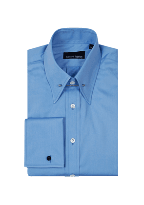 Sky Blue Cotton Pin-Collar Shirt With Double Cuffs