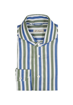 G. Inglese Green and Blue Cotton Archive Stripe Shirt