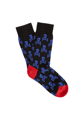Black and Red Skull and Crossbones Cotton Socks