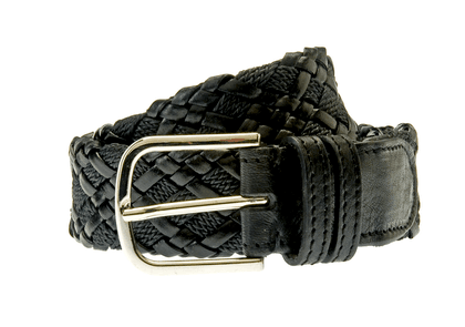 Black Woven Rope and Leather Belt