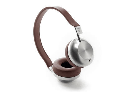 Brown and Silver VK-2 Classic Leather and Aluminium Headphones
