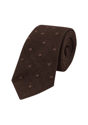 Jupe By Jackie Brown Embroidered Linen Polka Dot Tie
