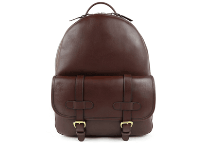 Chocolate Hampton Zipper Leather Backpack