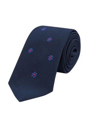 Jupe By Jackie Navy and Blue Floral Embroidered Silk Tie