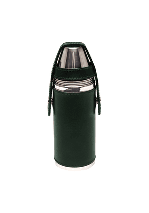 Ettinger Green Leather Covered 8oz Flask