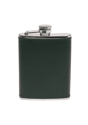 Ettinger Green Leather Covered Hip Flask
