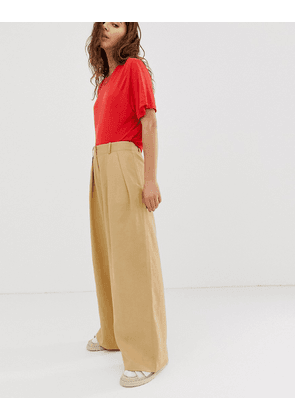 Weekday high waist wide leg trousers in beige
