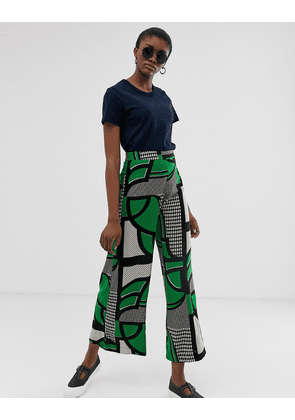 Weekday wide leg trousers in green grid print