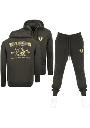 True Religion Double Puff Tracksuit Green
