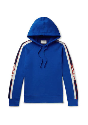Gucci - Webbing-trimmed Loopback Cotton-jersey Hoodie - Blue