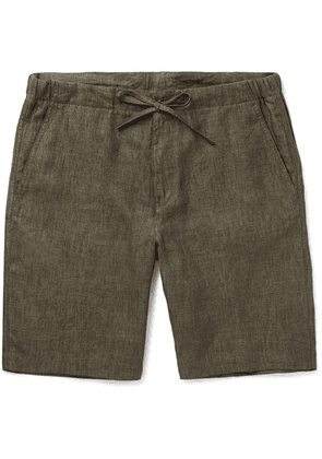 Loro Piana - Slim-fit Linen Drawstring Shorts - Green