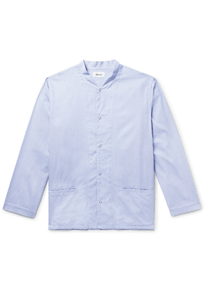 Chimala - Grandad-collar Striped Cotton Shirt - Blue