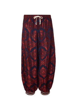 Gucci - Cropped Wide-leg Panelled Jacquard And Cotton-blend Trousers - Red