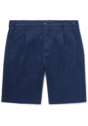 Tod's - Slim-fit Pleated Garment-dyed Cotton-blend Shorts - Navy