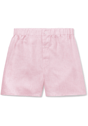 Emma Willis - Striped Linen Boxer Shorts - Pink