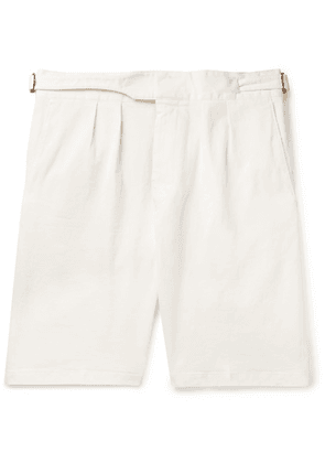 Lardini - Pleated Cotton-blend Twill Bermuda Shorts - Ecru