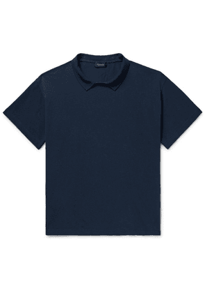 Chimala - Collared Cotton-piqué T-shirt - Navy