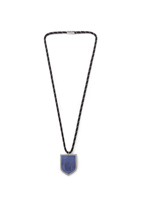 Maison Margiela - Cord, Silver-tone And Feather Necklace - Blue
