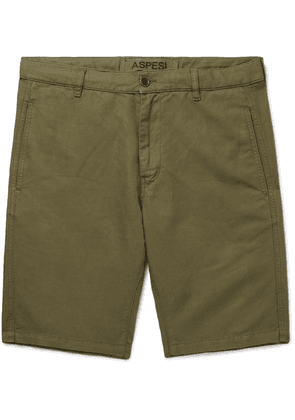 Aspesi - Cotton And Linen-blend Twill Shorts - Green