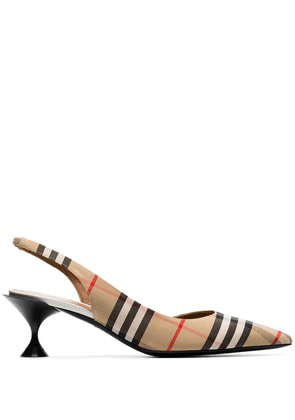 Burberry beige check Leticia 55 pointed toe slingbacks - Neutrals