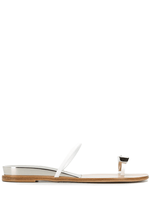 Casadei crystal toe strap sandals - White