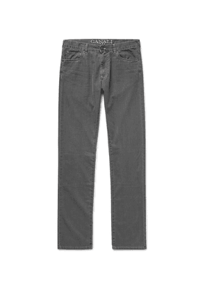 Canali - Slim-fit Washed Cotton-blend Denim Jeans - Gray