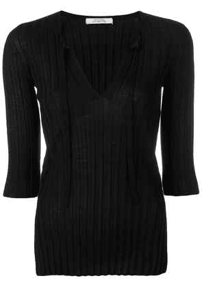 Dorothee Schumacher ribbed knit fitted top - Black
