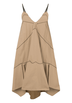 Dorothee Schumacher stitch detail flared dress - Brown