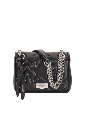 HELIA SHOULDER BAG/S Black Nappa Shoulder Bag with Studs and Silver Chain Strap