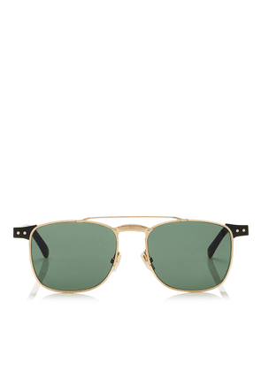 ALAN Green Lense and Black Acetate Square Frame Sunglasses with Gold Metal Frame