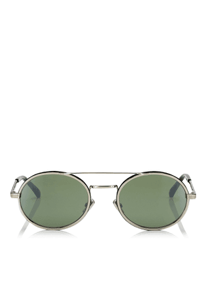 JEFF Green Mirror Oval Sunglasses with Gold Metal Frame and Black Temple Ends