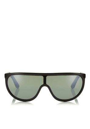 HUGO/S 99 Green Mirror Mask Sunglasses with Black Frame and Removable Band