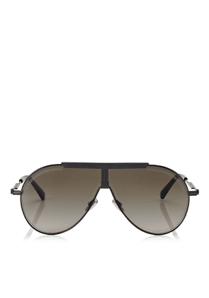 EDDY/S 66 Brown Shaded Aviator Sunglasses with Black Metal Frame
