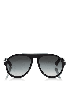 RON/S 57 Dark Grey Shaded Aviator Sunglasses with Black Frame