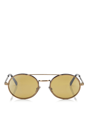 JEFF Silver Mirror Oval Sunglasses with Bronze Metal Frame and Blue Temple Ends