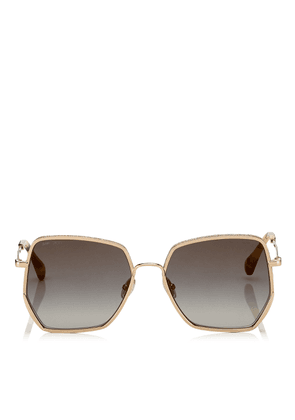 ALINE Grey Shaded Gold Mirror Square Sunglasses