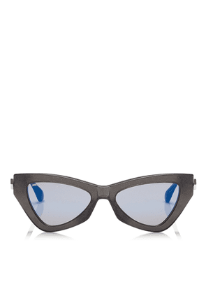 DONNA Blue Sky Mirror Cat Eye Sunglasses with Grey Glitter
