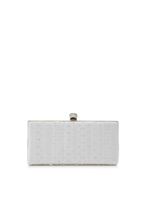 CELESTE/S Ivory Satin with Silver Glitter Tulle Clutch Bag with Cube Clasp