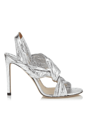 LALIA 100 Silver Metallic Foil Leather Mules with Intertwined Upper