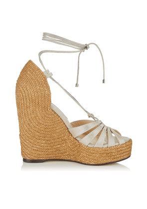 DENIZE 125 Natural and Silver Metallic Linen Wrap Around Wedges