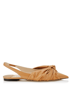 ANNABELL FLAT Caramel Soft Patent Fabric Sling Back Closed Toe Flats