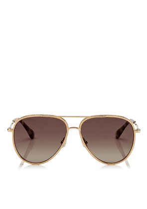 TRINY Brown Shaded Polorized Aviator Sunglasses with Gold Metal Frame