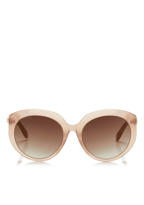 ETTY Brown Gold Oval Sunglasses with Nude Frame