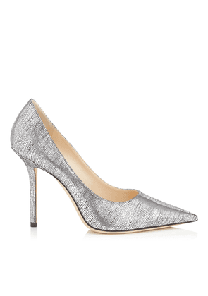 LOVE 100 Silver Metallic Lizard Print Leather Pointy Toe Pump