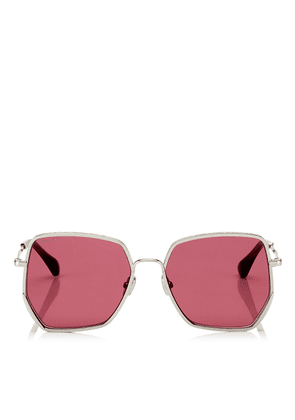 ALINE Red Mirror Square Sunglasses with Silver Frame