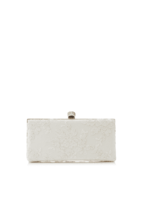 CELESTE/S Ivory Floral Lace Clutch Bag with Cube Clasp
